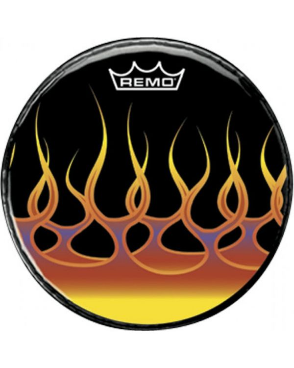 """Remo 22"""" Bass Drum Head, Spreading Flames Graphic"""