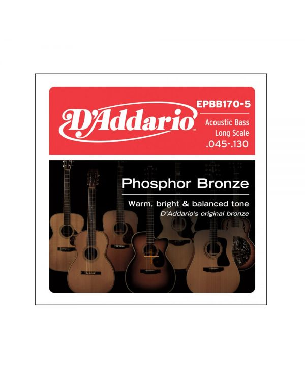 DAddario EPBB170-5 5-String Acoustic Bass Strings, Long Scale, 45-130