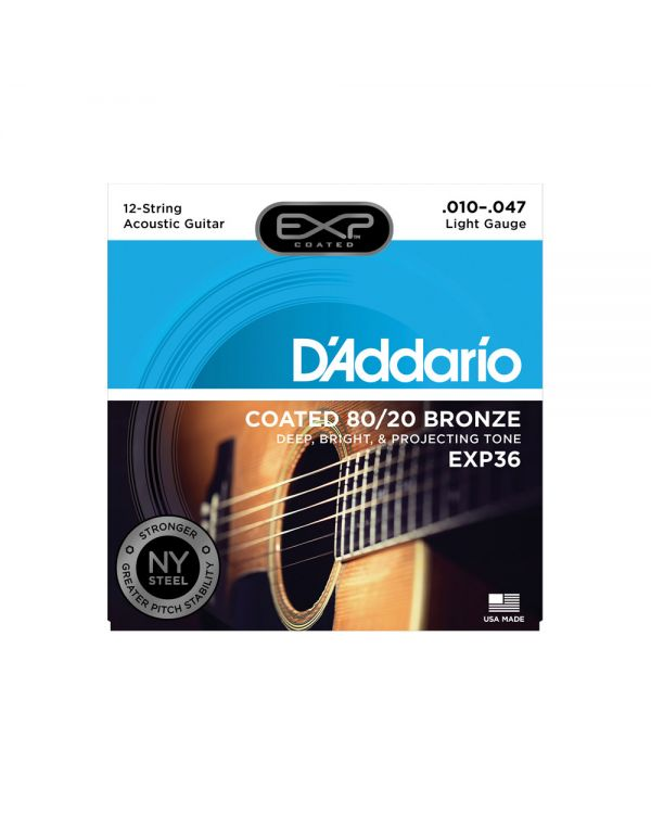 DAddario EXP36 Coated 12-String Acoustic Strings, Light, 10-47