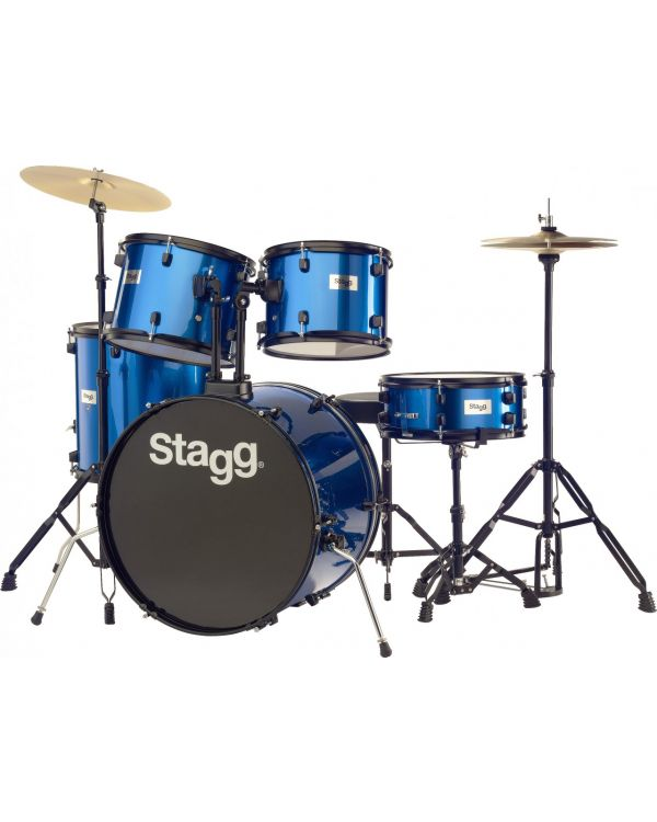 """Stagg 5-Piece Complete 22"""" Rock Drum Kit in Blue"""