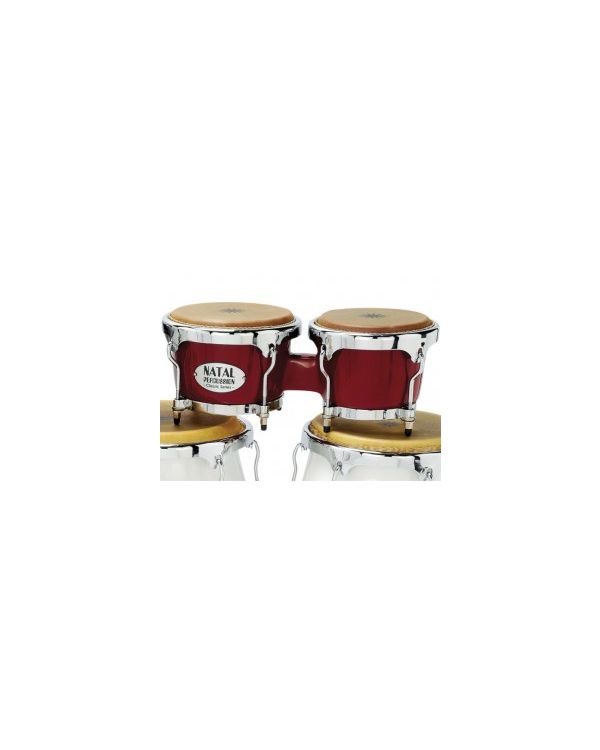 Natal Fuego Series Natural Wood Bongos, Red Gloss