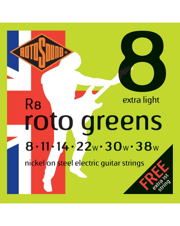 Rotosound R8 Roto Greens Electric Strings, Extra Light 08-38