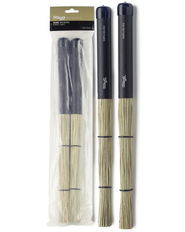 Stagg SBRU30-RS Polybristle straw brushes with black rubber handle grip