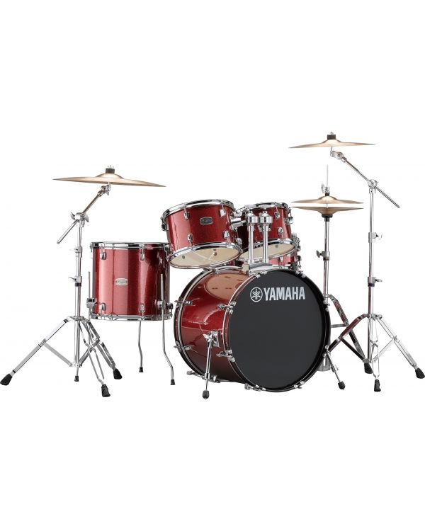 """Yamaha Rydeen 20"""" Drum Kit with Hardware and Cymbals, Burgundy Sparkle"""