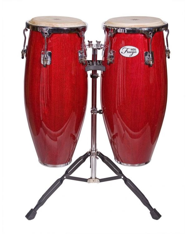 Natal Fuego Series Natural Wood Congas, 2 Stand, Red Gloss