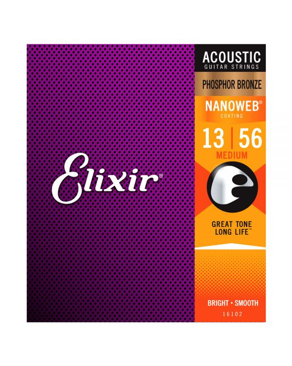 Elixir Phos. Bronze NANOWEB Acoustic Strings Medium 13-56