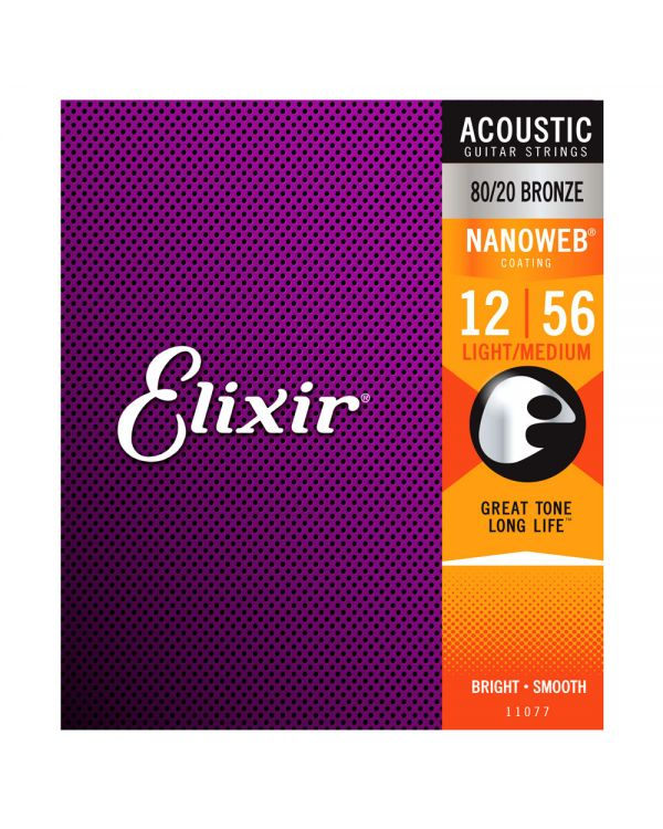 Elixir Bronze NANOWEB Acoustic Strings Strings Light-Medium 12-56