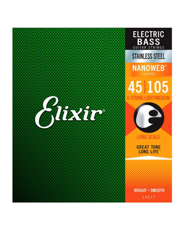 Elixir NANOWEB 4 Stg Long Scale Steel Bass Strings, Medium 45-105