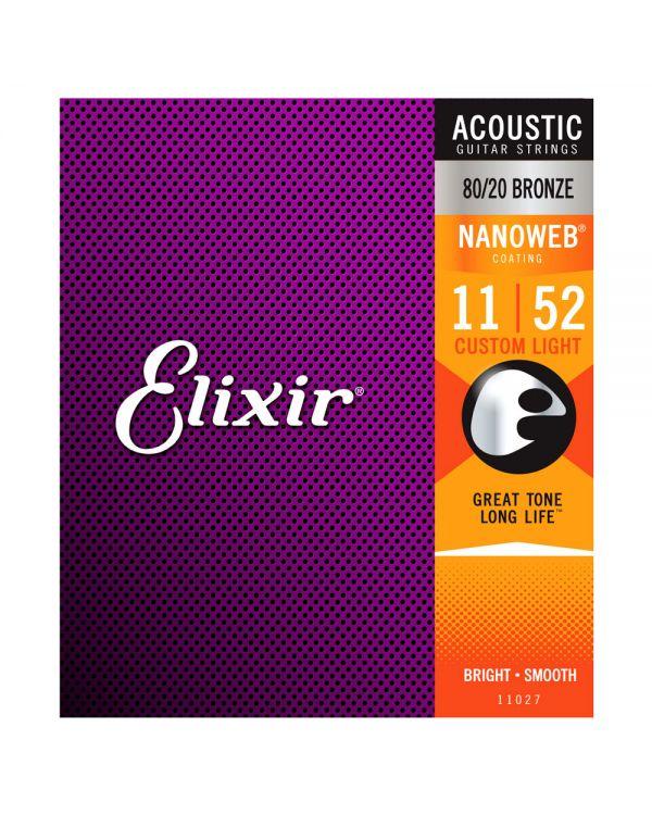 Elixir Bronze NANOWEB Acoustic Strings Strings Custom Light 11-52