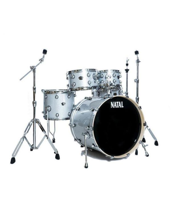 """Natal Arcadia Poplar 20"""" Fusion Shell Pack in White Sparkle with Hardware"""
