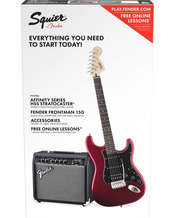 Squier Affinity Stratocaster HSS Electric Guitar Starter Pack Candy Apple Red