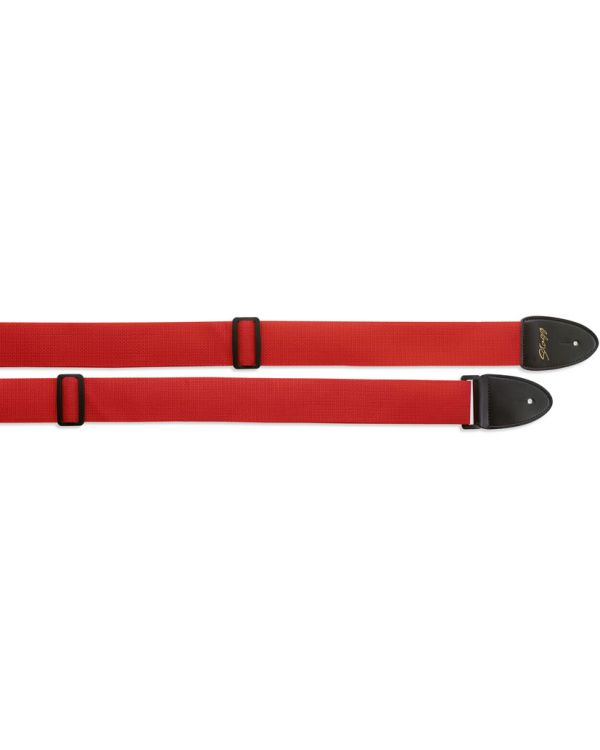 Code Braided Nylon Guitar Strap Red with Leather Ends