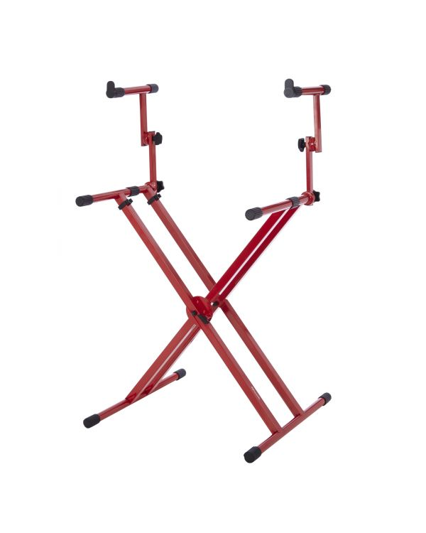 Gator Frameworks Deluxe 2-Tier X Style Keyboard Stand Nord Red