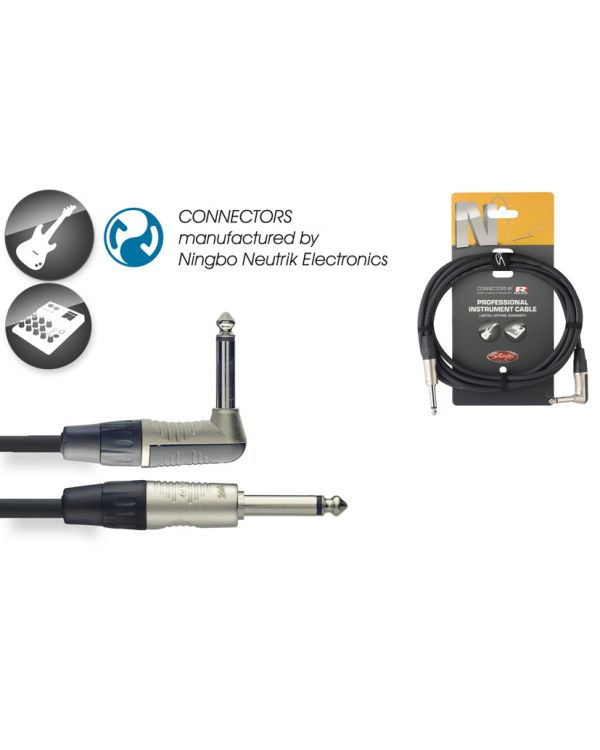 Stagg NGC6PLR 6m Deluxe Angled Jack to Jack Instrument Cable