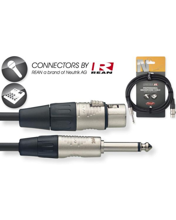 Stagg 3m Female XLR to Mono 6.3mm Jack Cable