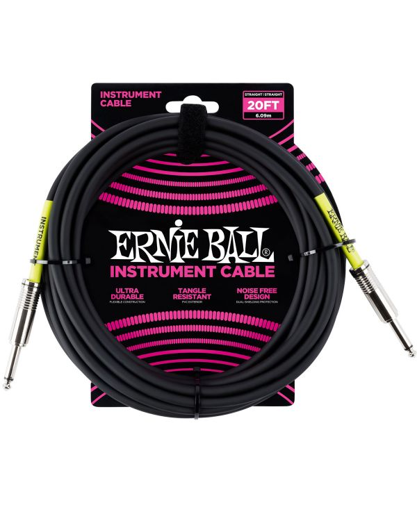 Ernie Ball 6046 6m / 20ft Instrument Cable Black S-s