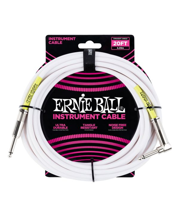 Ernie Ball 6047 6m / 20ft Instrument Cable White S-a