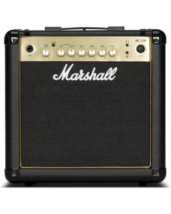 Marshall MG15GR-H Guitar Combo Amp with Reverb, Black/Gold