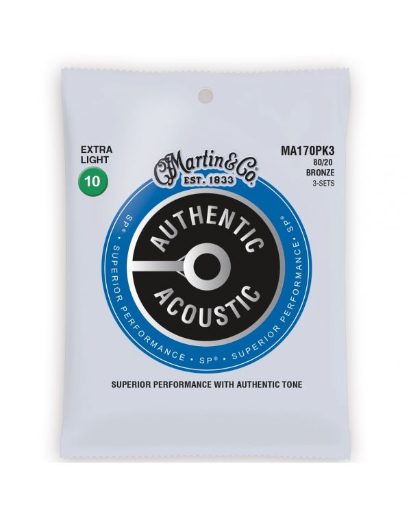 Martin Acoustic SP 80/20 Bronze Extra Light Strings, 10-47 (3-Pack)