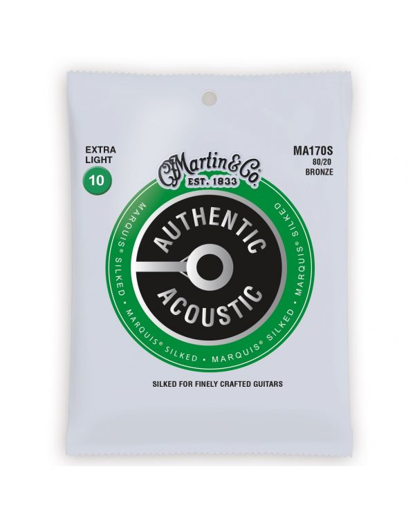 Martin Authentic Acoustic Marquis Silked 80/20 Bronze Extra Light Guitar Strings