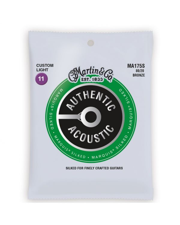 Martin Authentic Acoustic Marquis Silked 80/20 Bronze Custom Light Guitar Strings