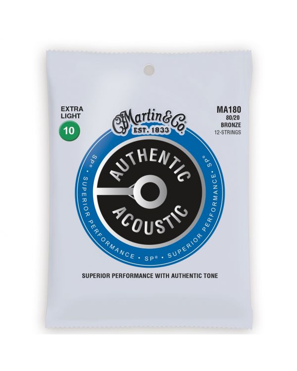 Martin Authentic Acoustic SP 80/20 Bronze Extra Light 12 String Guitar Strings
