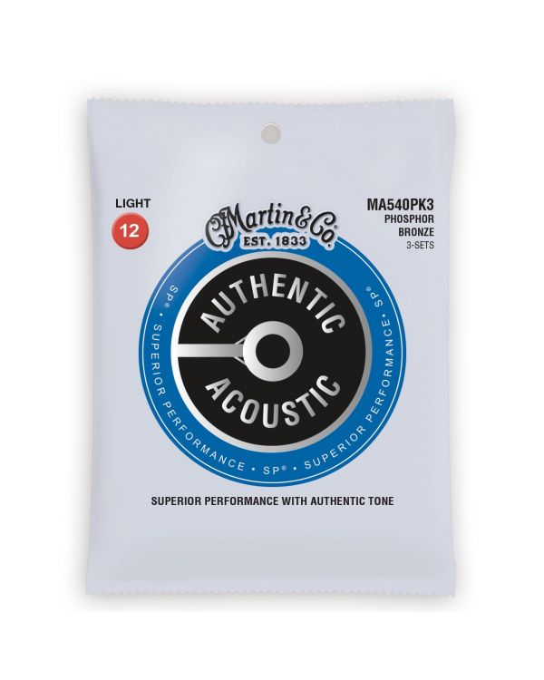 Martin Authentic Acoustic SP Light Guitar Strings 3-Pack