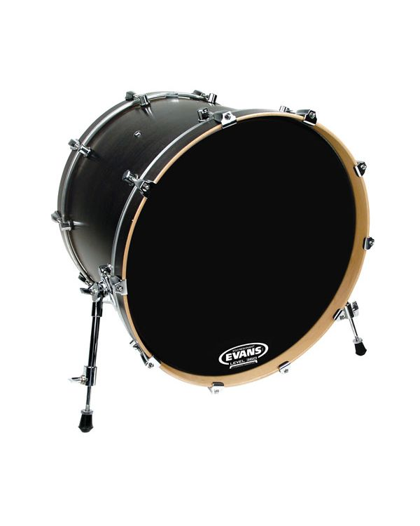 Evans EQ3 Resonant Black Bass Drum Head, No Port, 20 Inch
