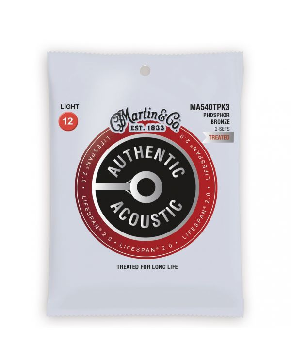 Martin Authentic Acoustic Lifespan 2.0 Light Guitar Strings 3-Pack