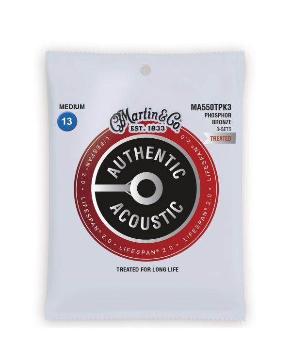 Martin Authentic Acoustic Lifespan 2.0 Medium Guitar Strings 3-Pack