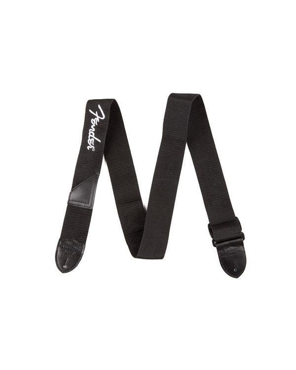 Fender 2 Black Poly Strap with White Fender Logo