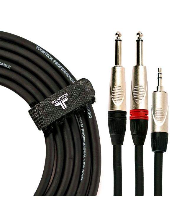TOURTECH Deluxe Mini Jack to Dual 1/4 Jack Cable, 3m