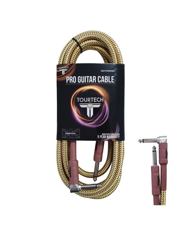 TOURTECH Pro Angled Guitar Cable, 3m, Tweed