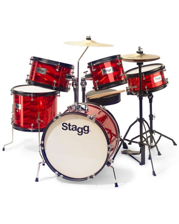 Stagg 5-Piece Junior Drum Kit with Hardware Red