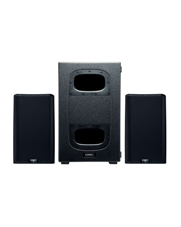 QSC K212C Cardioid Subwoofer Two K12.2 Active Speakers Bundle