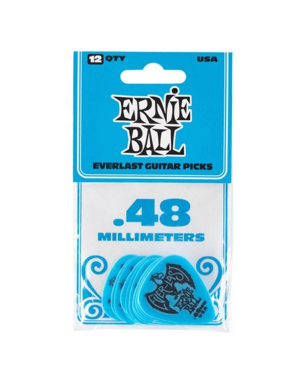 Ernie Ball Everlast 0.48mm Guitar Picks Blue (Pack of 12)