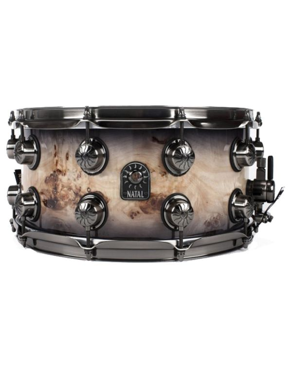"""Natal Mappa Burl 13"""" x 7"""" Snare Drum in Smoked Gloss"""