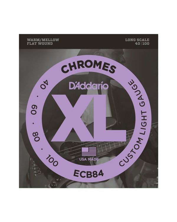 DAddario ECB84 Chromes Flatwound Bass Guitar Strings 40-100