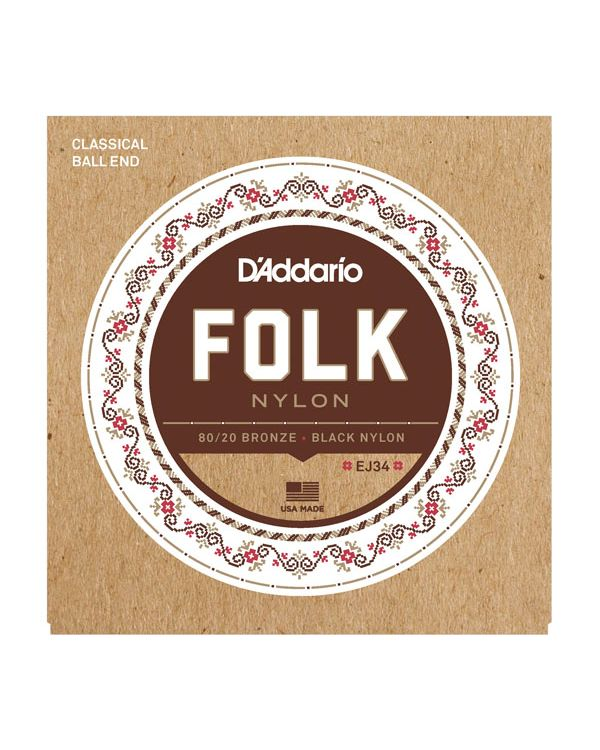 Daddario EJ34 Folk Nylon Guitar Strings Ball End
