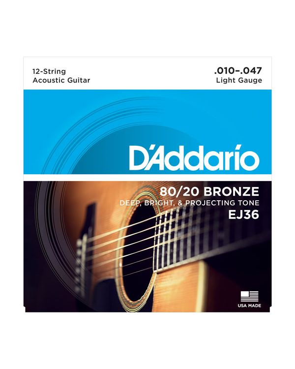Daddario EJ36 12-String Bronze Acoustic Guitar Strings Light