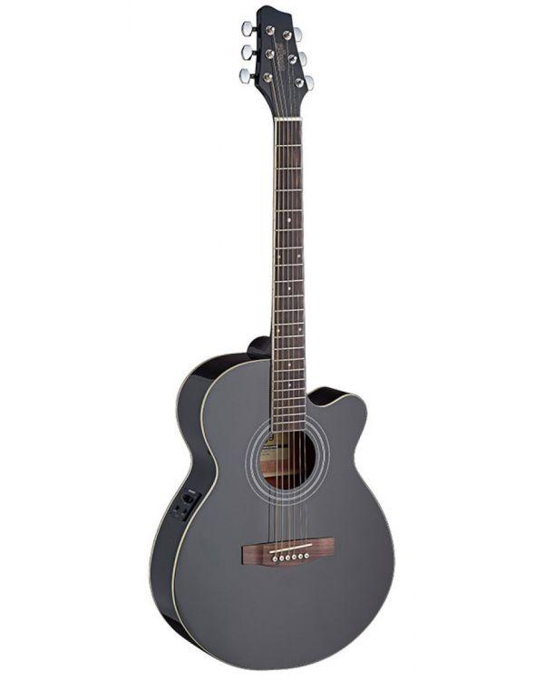 Stagg SA40MJCFI-BK Mini-Jumbo Electro-Acoustic Guitar in Black