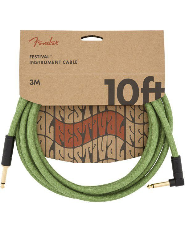 Fender 10' Angled Festival Cable Pure Hemp Green