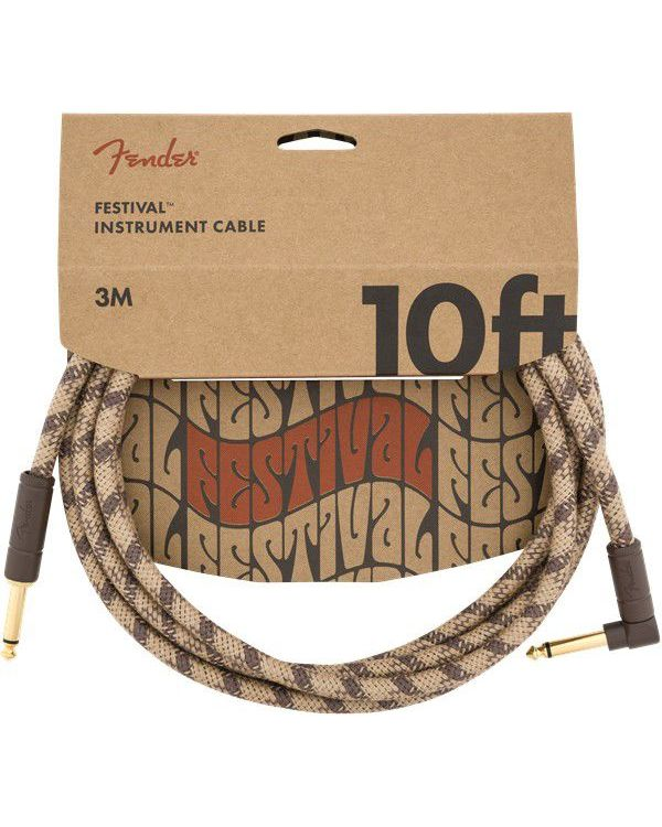 Fender 10' Angled Festival Cable Pure Hemp Brown Stripe