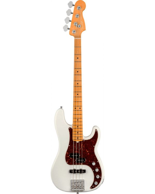 Fender American Ultra Precision Bass Guitar, MN, Arctic Pearl