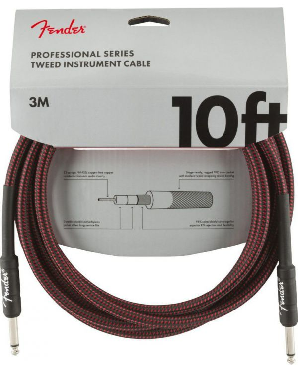 Fender Professional Series Instrument Cable 10ft Red Tweed