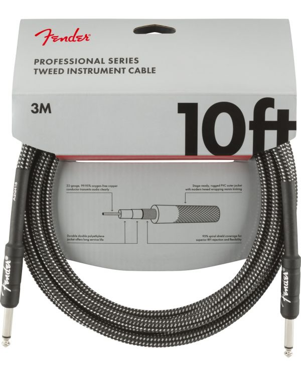 Fender Professional Series Instrument Cable 10ft Grey Tweed