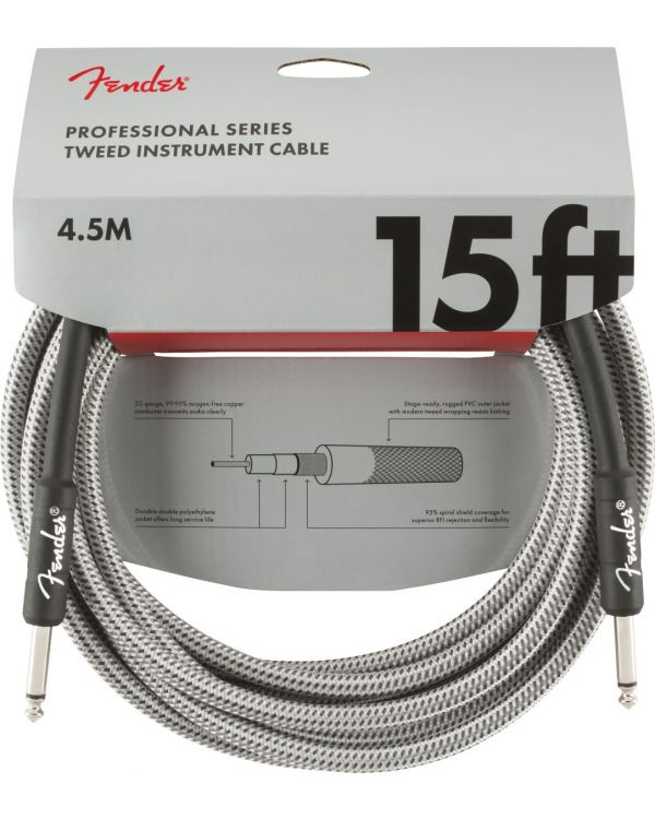 Fender Professional Series Instrument Cable 15ft White Tweed