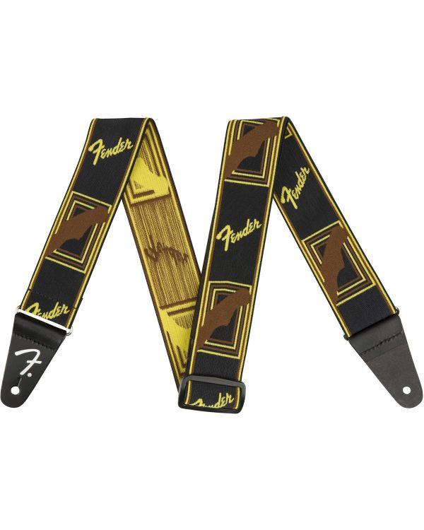 "Fender Weighless 2"" Mono Strap, Black/Yellow/Brown"