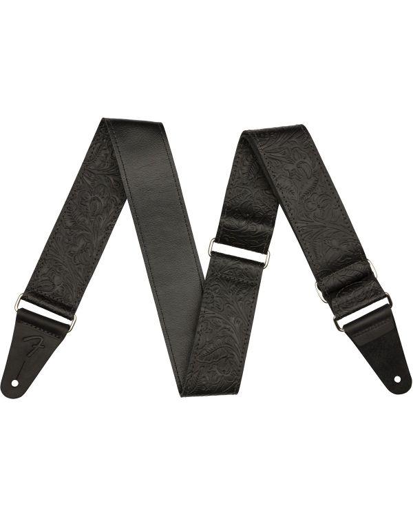 """Fender Tooled Leather Guitar Strap, 2"""", Black"""