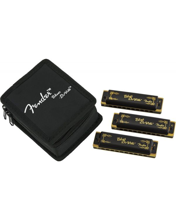 Fender Blues DeVille Harmonica, Pack of 3, with Case